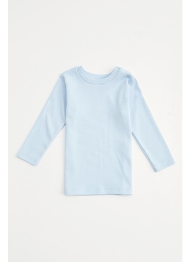 DeFacto Erkek Bebek Uzun Kol Basic Tişört Mavi